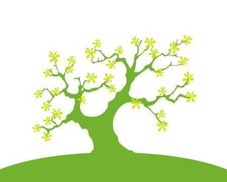 Fondo verde con los �rboles y la tierra, aislada