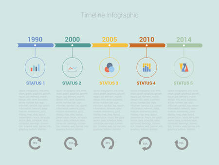 Retro Timeline Infographic, Vector design Illustration