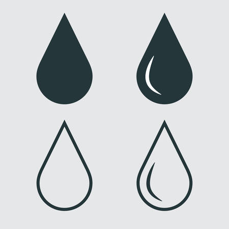 water drop icons set on white background