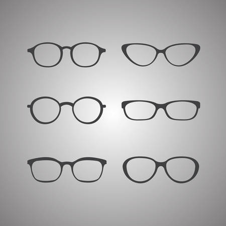 black glasses icons set on gray background Illustration