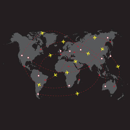 illustration of night travel world map Vector