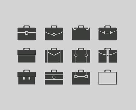 black briefcase icons set