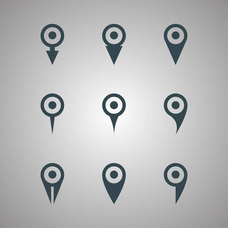 black map pointer icons set