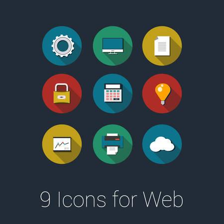 Iconos del vector para las aplicaciones Web y M�vil Vectores