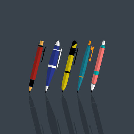 four color printing: Vector illustration of set colorfull pens Illustration