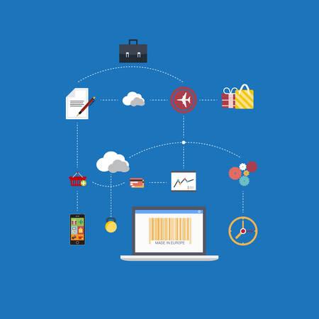 analytical: Flat vector scheme of web analytics information