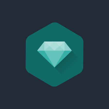 cabochon: Diamond cuts vector flat icon Illustration