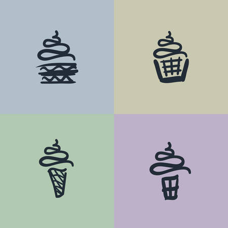 Vector Sketch Set of Sweets Vector