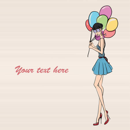 balloon woman: picture with young elegant woman holding balloons Illustration