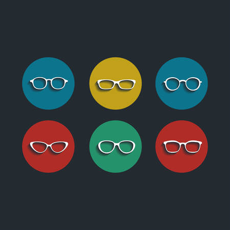 Vector black glasses icons set Vector