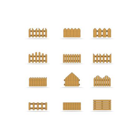 set wooden fences, vector illustration Vector