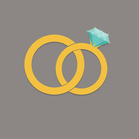 Wedding rings vector icon, illustration