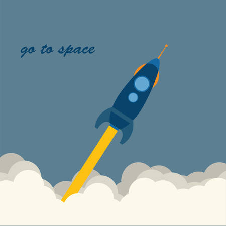 astronautics: rocket go to space, vector Illustration