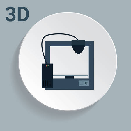 prototypes: 3d printer icon with simple design. Eps10 vector illustration Illustration