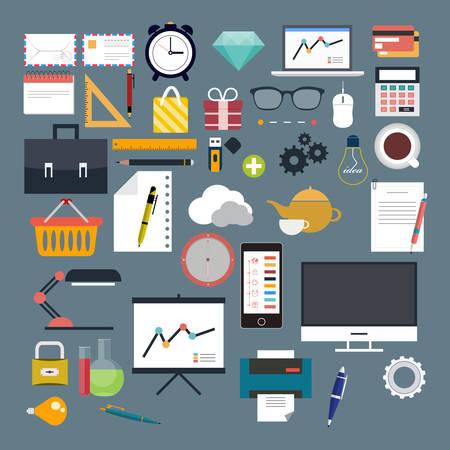 Negocios, Web, Internet, plana, vector Vectores