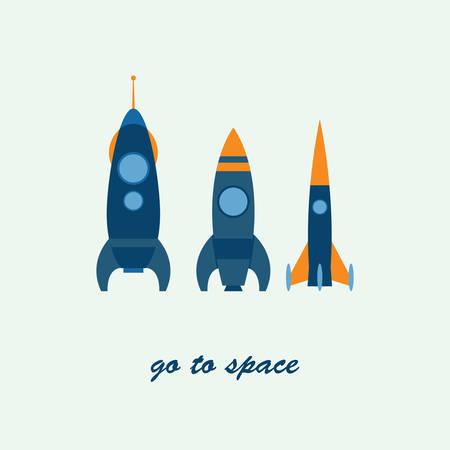rocketship: rocket go to space, vector Illustration
