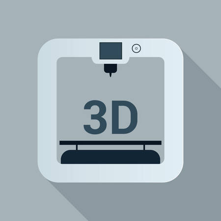 3d printer icon with simple design. Illustration