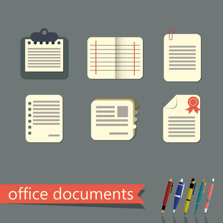 office documents: Office documents vector flat icons set Illustration