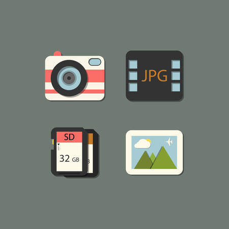 sd: vector flat photography icon set in color Illustration
