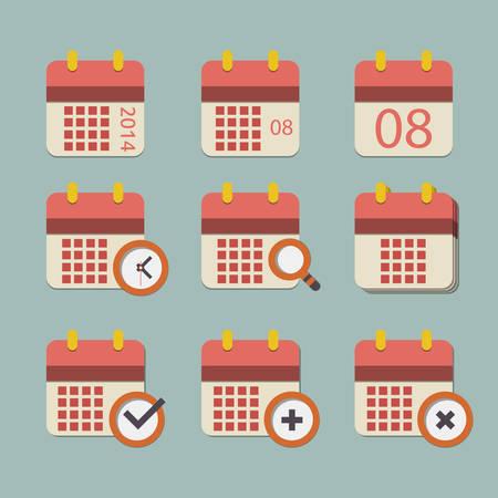 Vector flat calendar icon set Illustration