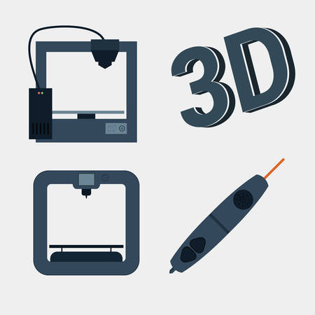 prototypes: 3d printer icon with simple design  Illustration