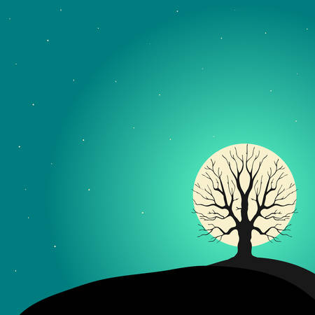 Tree on a background of the moon, vector Vector