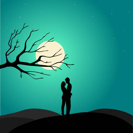 st valentin's day: Two enamored under a love tree, illustration