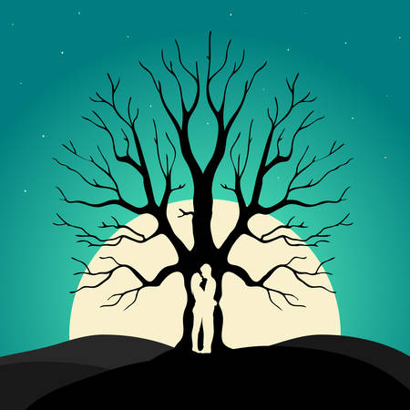 Two enamored under a love tree, illustration  Vector