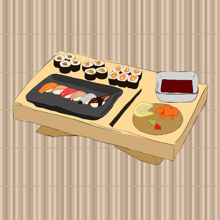 Vector illustration of various pieces of Sushi Vector