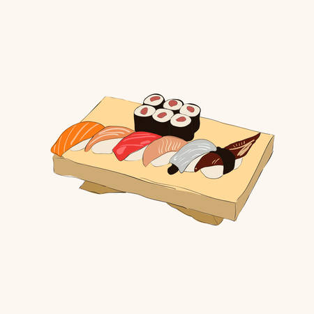Illustration of various pieces of Sushi with chopsticks
