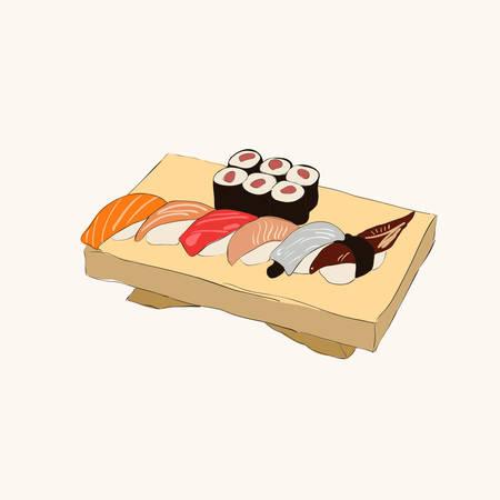 Ilustraci�n de varias piezas de sushi con los palillos Vectores