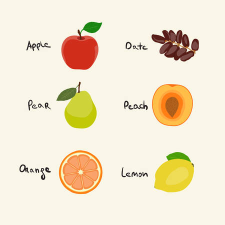 dates fruit: Vector collection of 6 Fruits icons Illustration