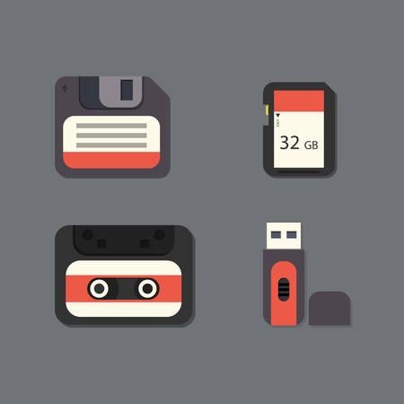 kilobyte: Digital data devices icon set vector illustration Illustration