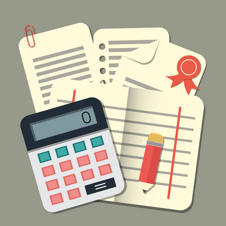 Flat conception calculator and papers. Accounting, vector illustration