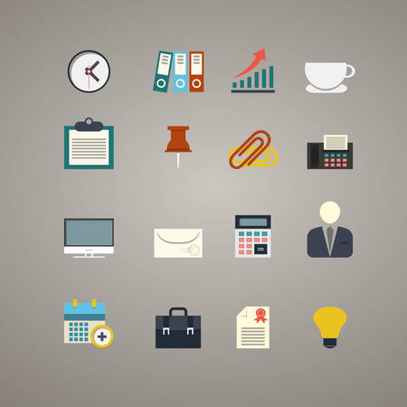 flat business and office icons set, illustration