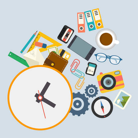 glases: Infographics, work schedule at the office Illustration