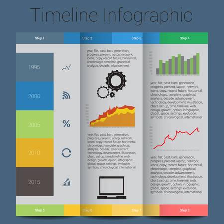 Retro Cronograma Infograf�a Vectores