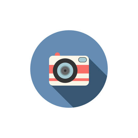 Flat icons for web and mobile applications. Camera icon. Long shadow design
