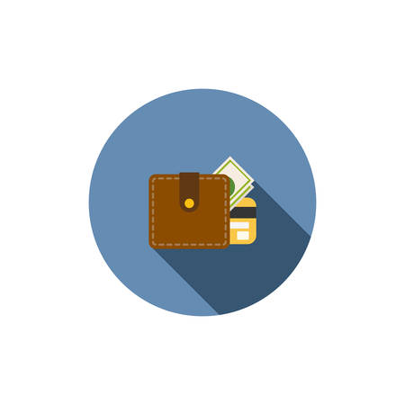 Wallet with dollars icon, vector flat icon Vector