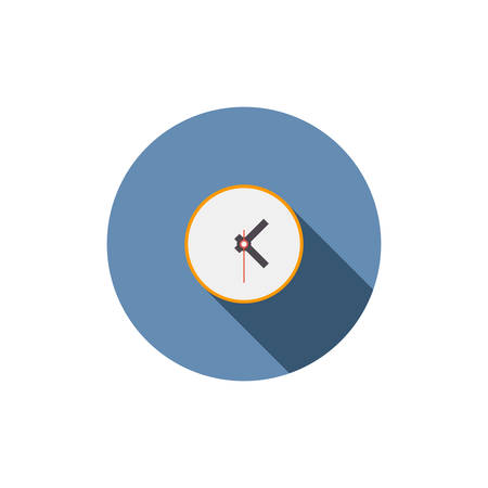 Flat clock icon for application on white background Vector