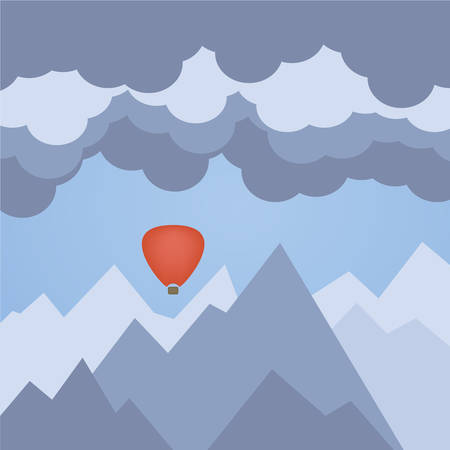 Flat illustration of hot air balloon, on a background of mountains and clouds Vector