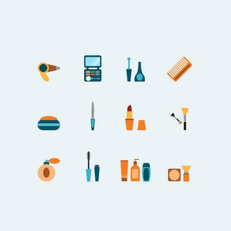 hairstyling: Conjunto de peluquer�a y maquillaje iconos vectoriales de colores que muestran los contenedores de barniz perfume l�piz labial rimel clavo secador de pelo peine cepillos compacto sombra de ojos y colorete Vectores