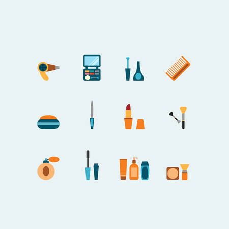 hairstyling: Set of colored vector hairstyling and makeup icons showing mascara  comb  hairdryer  perfume  lipstick  nail varnish  containers  brushes  compact  eye-shadow and blusher Illustration