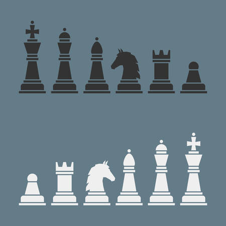 Complete set of vector silhouettes chess Vector