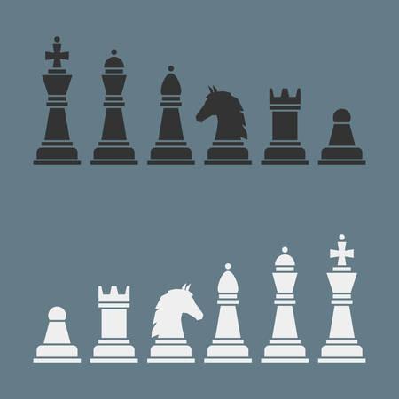 Juego completo de siluetas vector de ajedrez