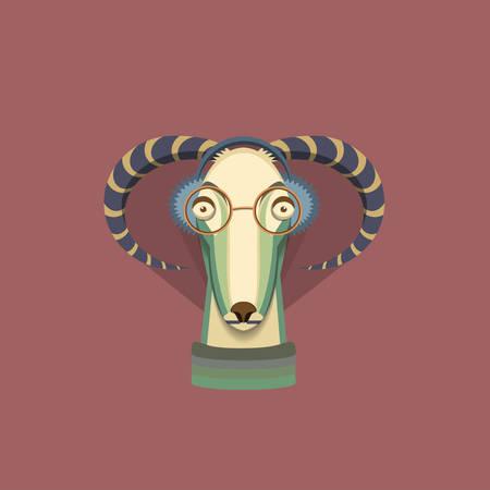Ilustraci�n del vector de cabra, s�mbolo de 2015. Elemento para el dise�o de A�o Nuevo