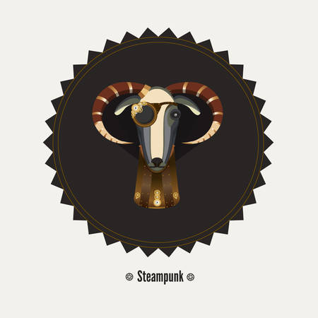 Vector illustration of goat steampunk, symbol of 2015. Element for New Years design