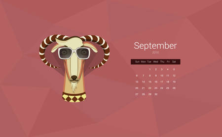 Calendar for 2015, the month of September, the year of the goat.