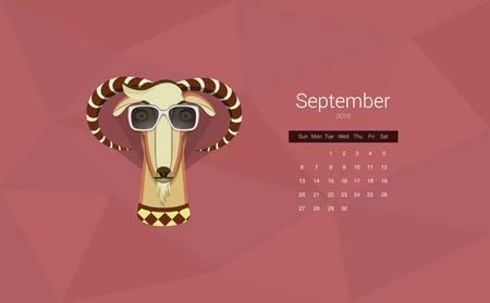 Calendario para el a�o 2015, el mes de septiembre, el a�o de la cabra. Todos los meses se encuentra en mi cartera Vectores