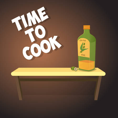 botella de aceite de oliva: Botella de aceite de oliva retro. Vectores